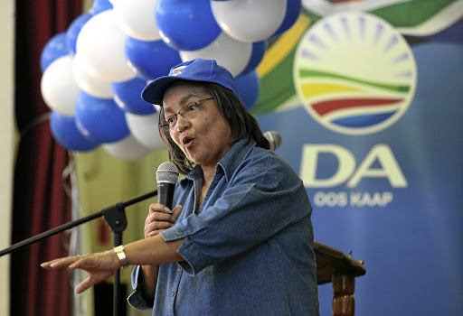 Still calling the tune: Cape Town mayor Patricia de Lille addresses party supporters at the Chatty Community Hall in Bethelsdorp outside Port Elizabeth. Picture: EUGENE COETZEE/THE HERALD