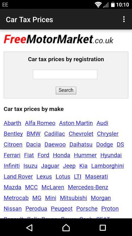 Car Tax Prices- screenshot