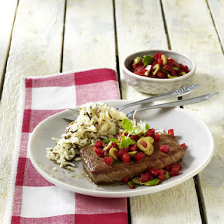 Tuna Steaks with Pepper and Olive Salsa