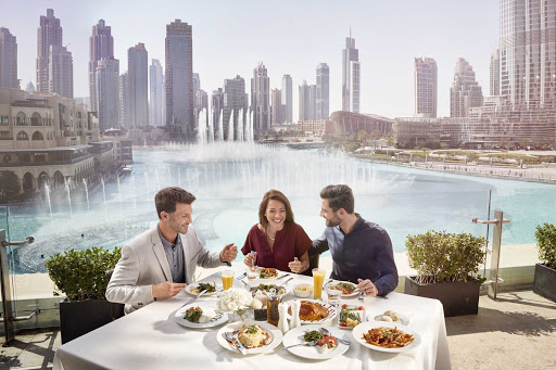 Dining with a view in Dubai, United Arab Emirates.