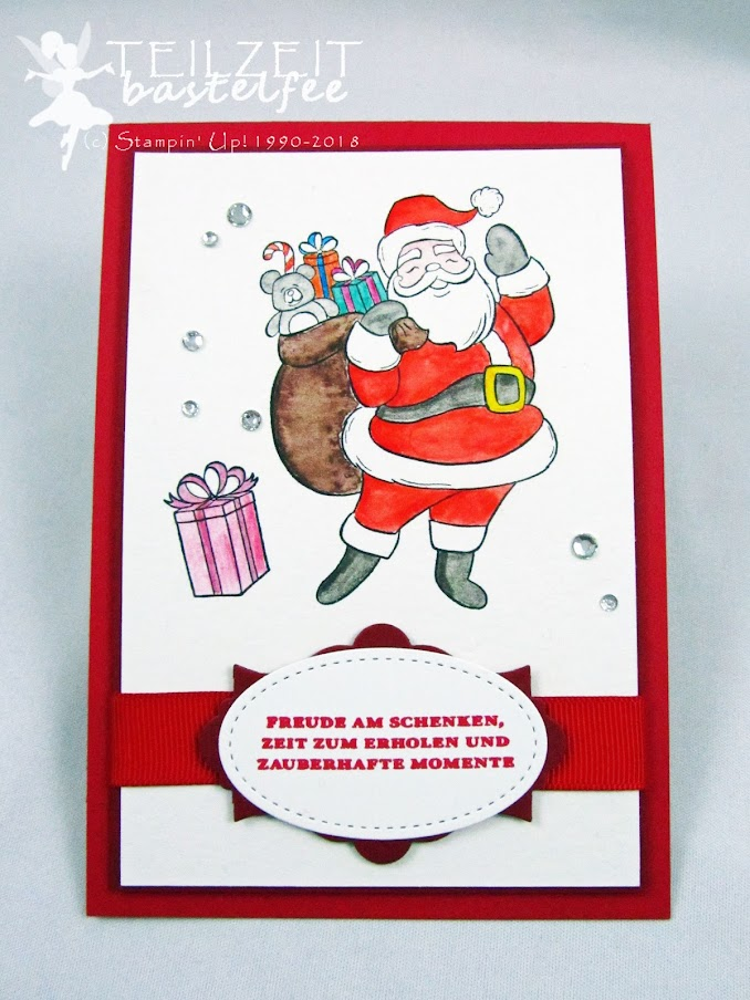 Stampin' Up! - Inkspire_me, Christmas Challenge, Weihnachten, Santa, Weihnachtsmann, Nikolaus, Aquapainter, Aquarell, Watercolor, Red, Holly Jolly Christmas, Sack voller Wünsche