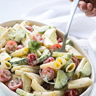 Creamy Cucumber and Tomato Pasta Salad.