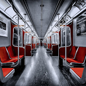 A subway car in Toronto by Roland Shanidze - Transportation Trains ( red, selective colour, hdr, roland shainidze, lines, perspective, symmetry, hdr< selective colour )