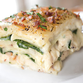 Creamy Chicken Florentine Lasagna with Two Cheeses, Baby Spinach and Crispy Bacon.