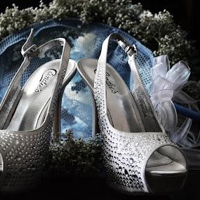 Wedding Shoes by Ellason Boyle - Abstract Macro ( shoes, gems, blue, wedding, white, pale, net )