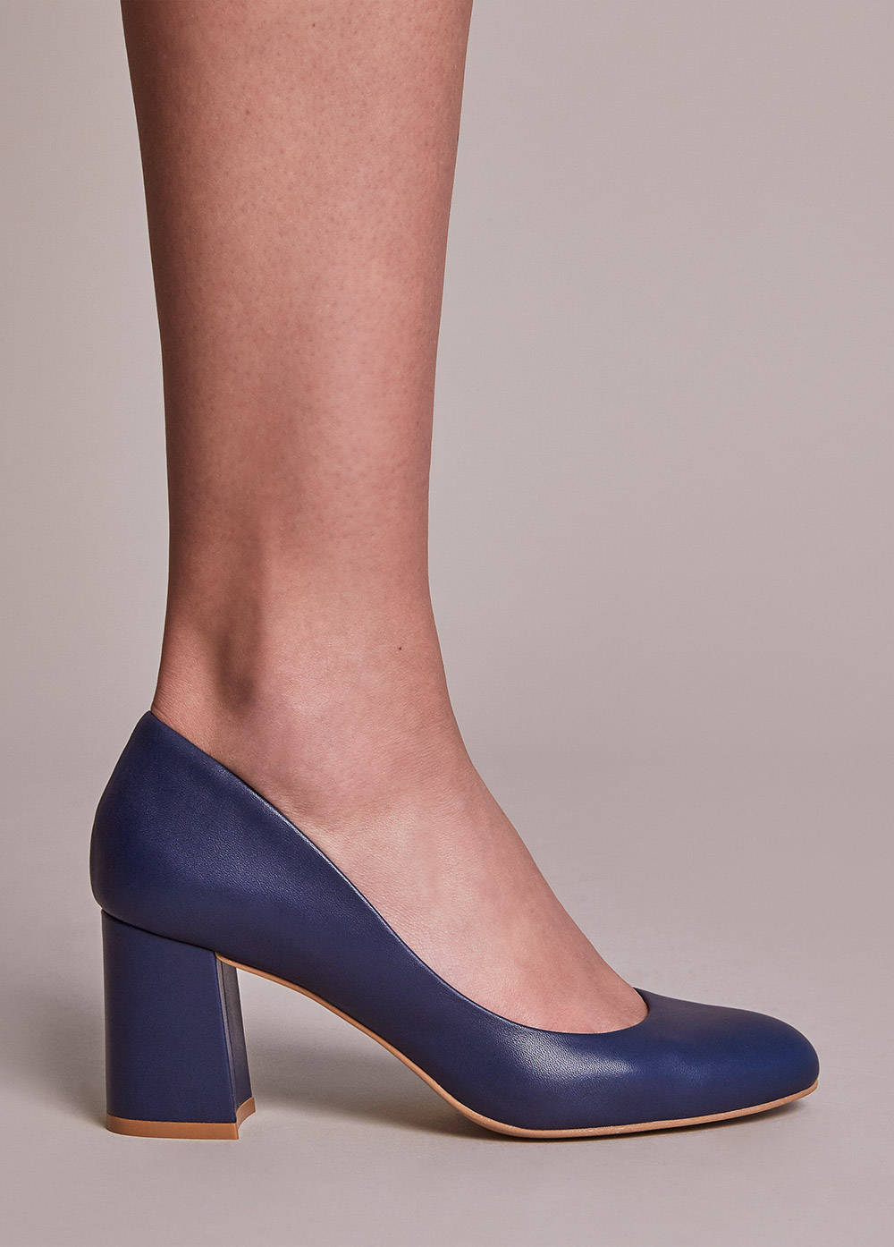 Navy leather 3 inch heels