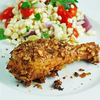 Tortilla Chicken Legs with White Corn Salad