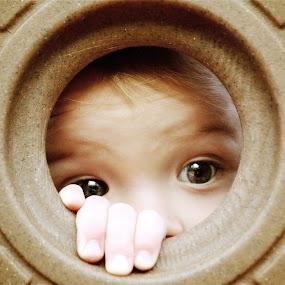 Peek-a-Boo by Sandra Millsap - Babies & Children Children Candids ( child, playing, peek-a-boo, eyes )