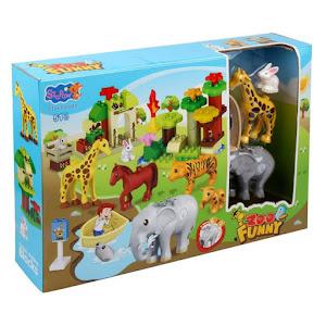 Set de construit cu 51 piese si 8 figurine, Gradina Zoologica