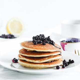 No Added Sugar Blueberry Muffin Pancakes.
