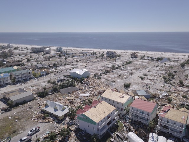 Aerial photo shows damaged and destroyed homes after Hurricane Michael smashed into Florida's northwest coast in Mexico Beach, Florida, US, October 12, 2018.