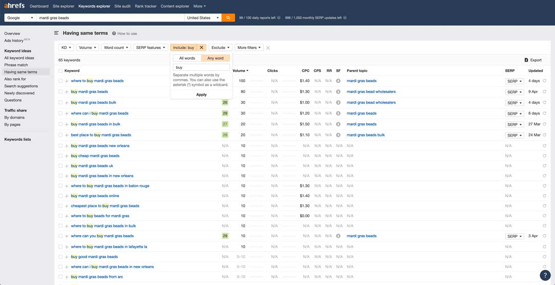 transactional search intent in ahrefs for baton rouge search engine optimization