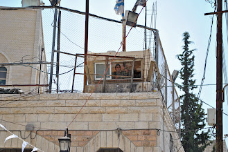 Photo: A watchtower in the Old City of Hebron, West Bank.