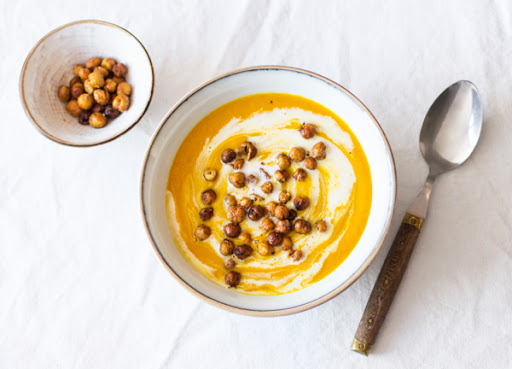 Carrot, Turmeric, and Ginger Soup with Cumin Roasted Chickpeas