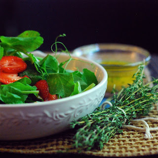 Pea Vines & Strawberries with Honey Thyme Dressing
