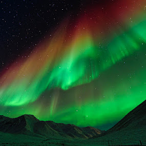 The Symphony of Lights by Tom Charoensinphon - Landscapes Mountains & Hills ( green, aurora, alaska, magics, atigun, landscape, space, curtain, lights, mountains, borealis, ice, stars, snow, nights, arctic )