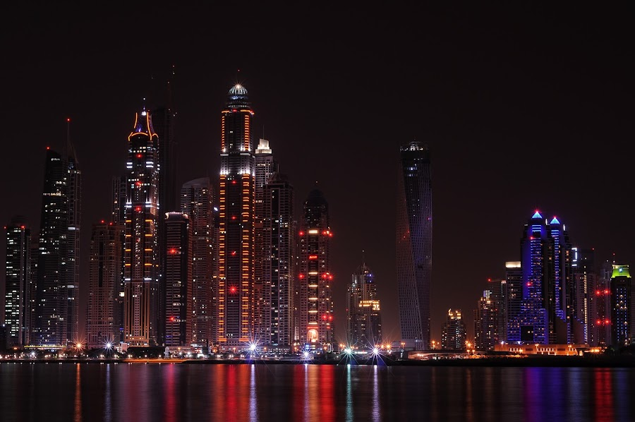 DUBAI MARINA AT NIGHT by EUGENE CAASI - Buildings & Architecture Office Buildings & Hotels