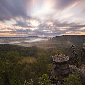 a long time at sunrise by Petr Musil - Landscapes Sunsets & Sunrises ( time, park, national, sunset, schramsteine, germany, rock, long, saxony )