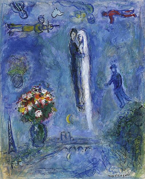 Марк Шагал. Свадебная пара в голубом небе над Парижем.