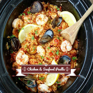 Slow Cooker Chicken & Seafood Paella.
