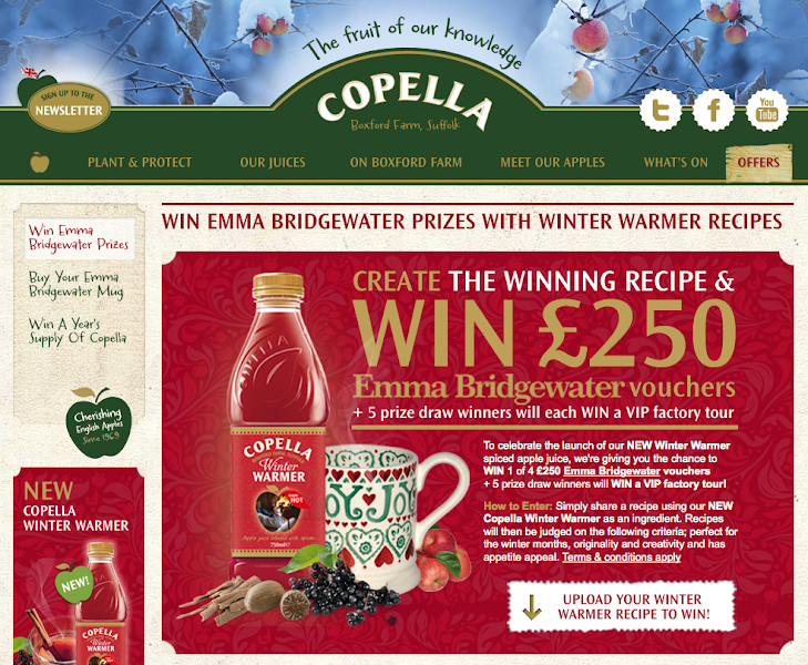 "Photo: STANDOUT strategic online creative for Copella ""Winter Warmer"" Campaign launch, including collaboration with Emma Bridgewater. View online here www.copellafruitjuices.co.uk."