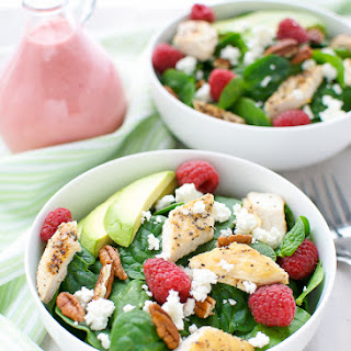 Spinach Salad With Raspberry Vinaigrette.