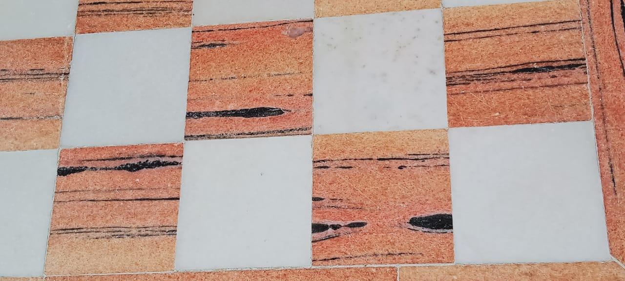 Pink marble floor design