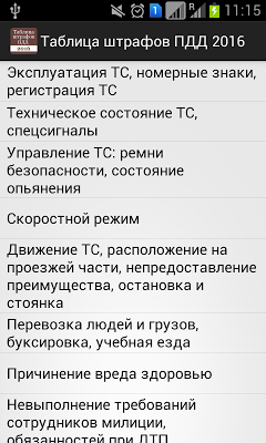 Таблица штрафов ПДД 2016 - screenshot