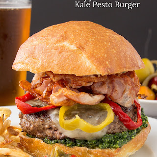 Crispy Italian Ham and Kale Pesto Cheeseburgers