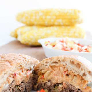 Pressure Cooker Pepperoncini Beef Sandwiches with Chopped Giardiniera.