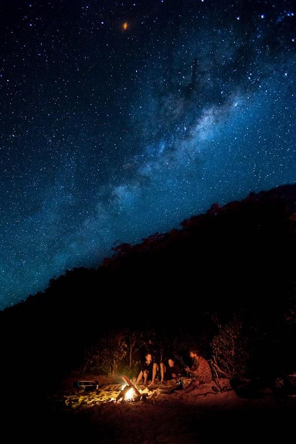 Beach Fire Under the Milky Way by Jason Rose - Landscapes Starscapes ( beach fire, stars, fiji, nananu-i-ra, campfire, milky way )