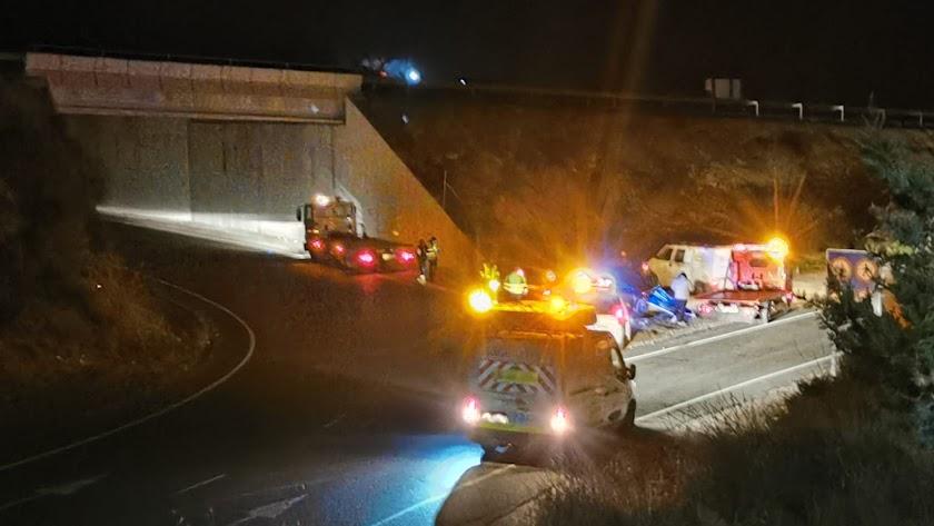 Imagen del accidente en el cruce de Overa.