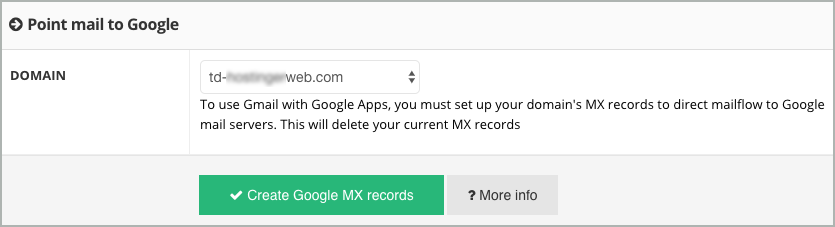 The Point mail to Google section sis shown with the Create Google MX records button.