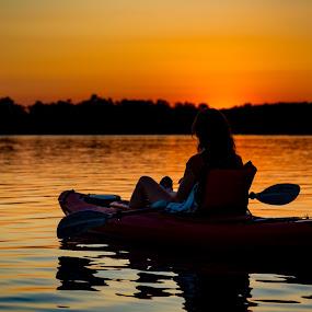 Sunset at Kensington by Chris Martin - Landscapes Sunsets & Sunrises ( water, michigan, sunset, lake, silhoutte, kayak, kensington metro park,  )