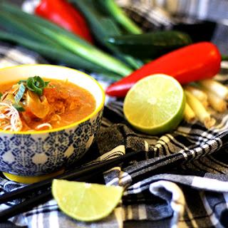 Easy Thai Coconut Chicken Noodle Soup.