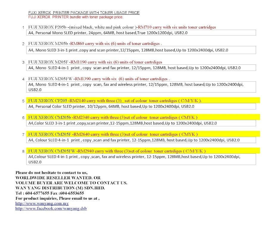 FUJI XEROX Color PRINTER CM205b  - WAN YANG DISTRIBUTION S/B
