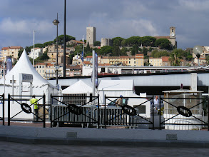 Photo: Here, looking over the boat show tents crowding the Old Port up to the town's historic district, Le Suquet.