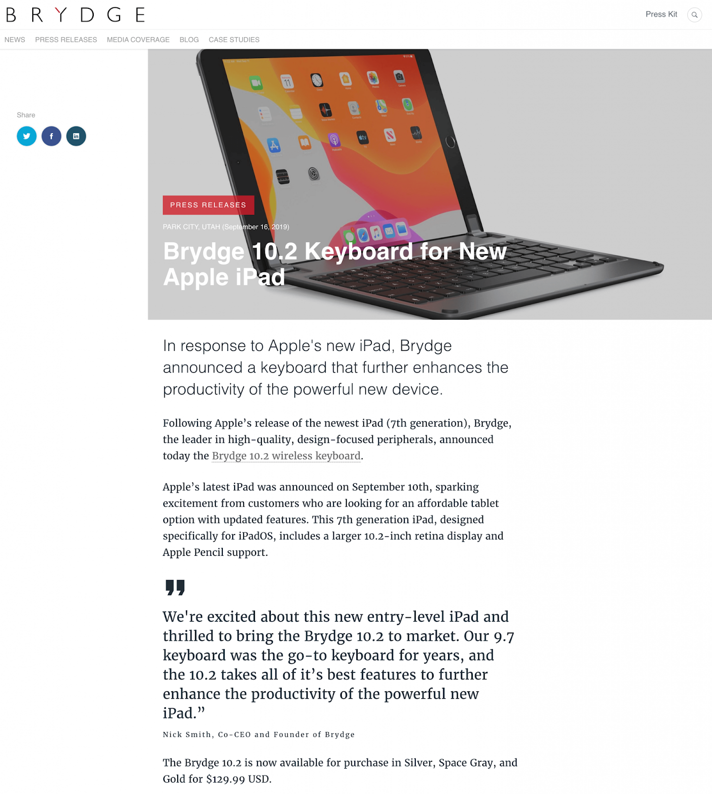 Press release example created in Prowly by Brydge