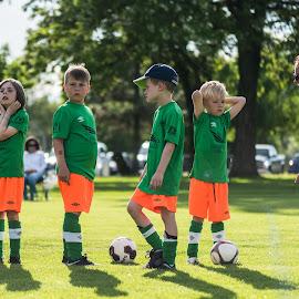 Anyone Listening by Garry Dosa - Babies & Children Children Candids ( orange, teams, green, coach, outdoors, boys, children, game, coaching, running, colours, soccer )