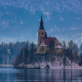 Bled Island between Alpins by Arif Sarıyıldız - Landscapes Travel ( snow, bled island, winte, travel photography, alpin )