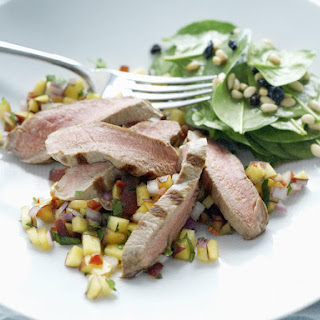 Grilled Lamb with Spicy Peach Salsa