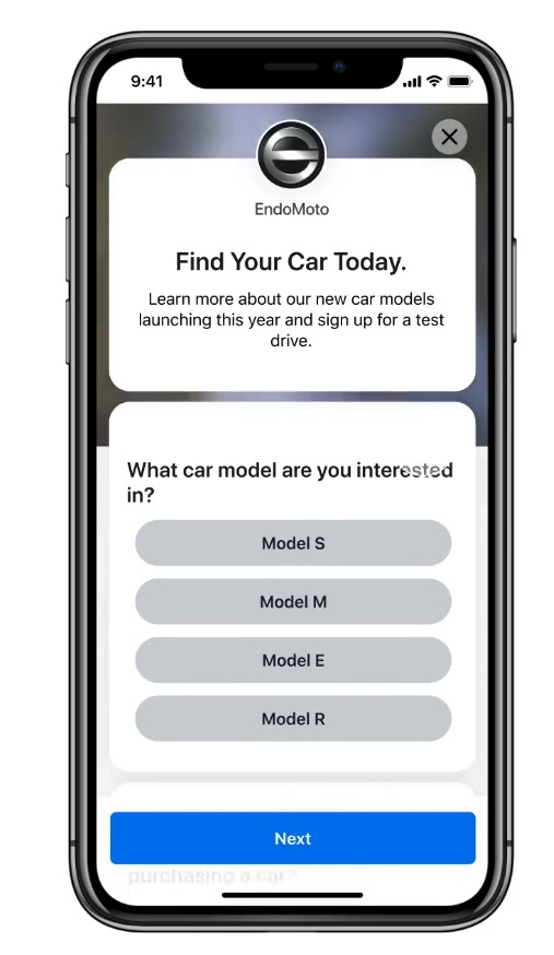 Image of instant form for car brand