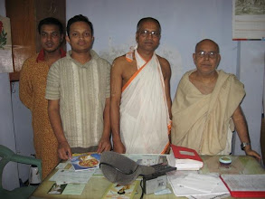 Photo: Dhaka Prabhu Jagadabndhu Mahaprakash Math resident brahmacahris and students. From left to right - 2 students, Sri Niladribandhu Brahmachari, Secretary, Dhaka Mahaprakash Math and Sri Kantibandhu Brahmachari, Redident Incharge and President, Mahanam Sampraday, Bangladesh