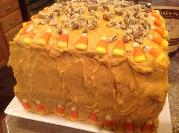 My Husbands 4 Layer Special Creation Carrot Cake For His Birthday. Garnished With Black Walnuts And Caramel Corn Candy.