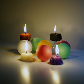 candles lighted up by Alice Chia - Artistic Objects Toys ( balls, flae, candles, lighted, shadows,  )