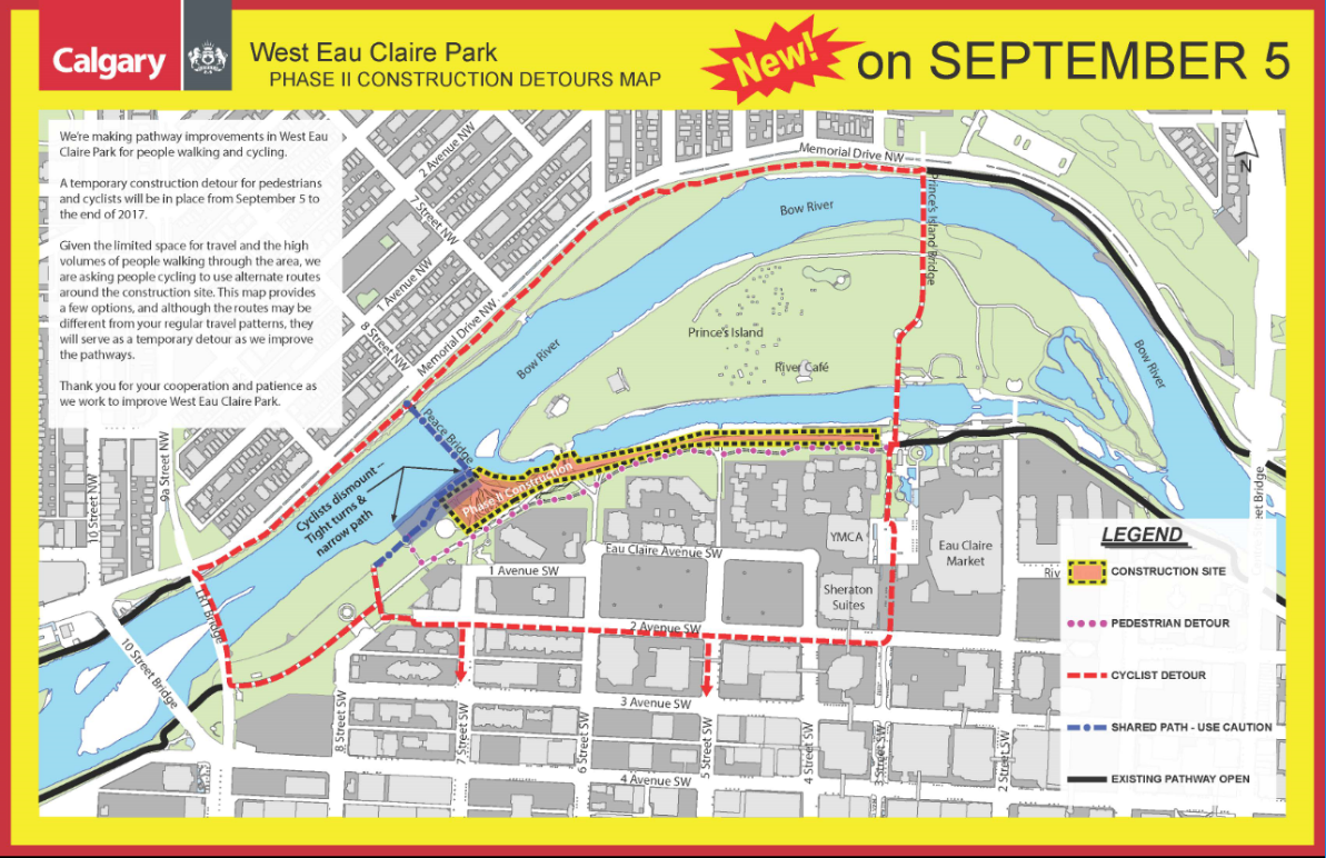 Pathway Detours West Eau Claire 05Sep to End 2017 Bike Calgary