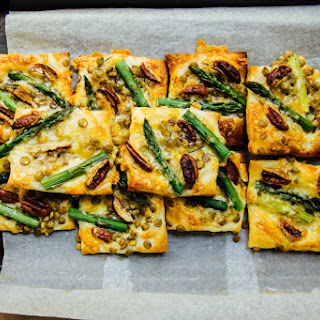 Asparagus, Pecan + Lentil Puff Pastry Tartlets.