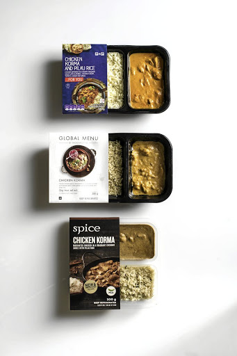 From top: Chicken Korma from Pick n Pay; Woolworths Global Menu and Checkers Spice.