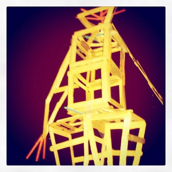 Photo: DIY Burning Man, made of Popcycle sticks, Atherton Burn