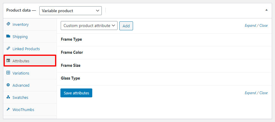 attribute settings WooCommerce